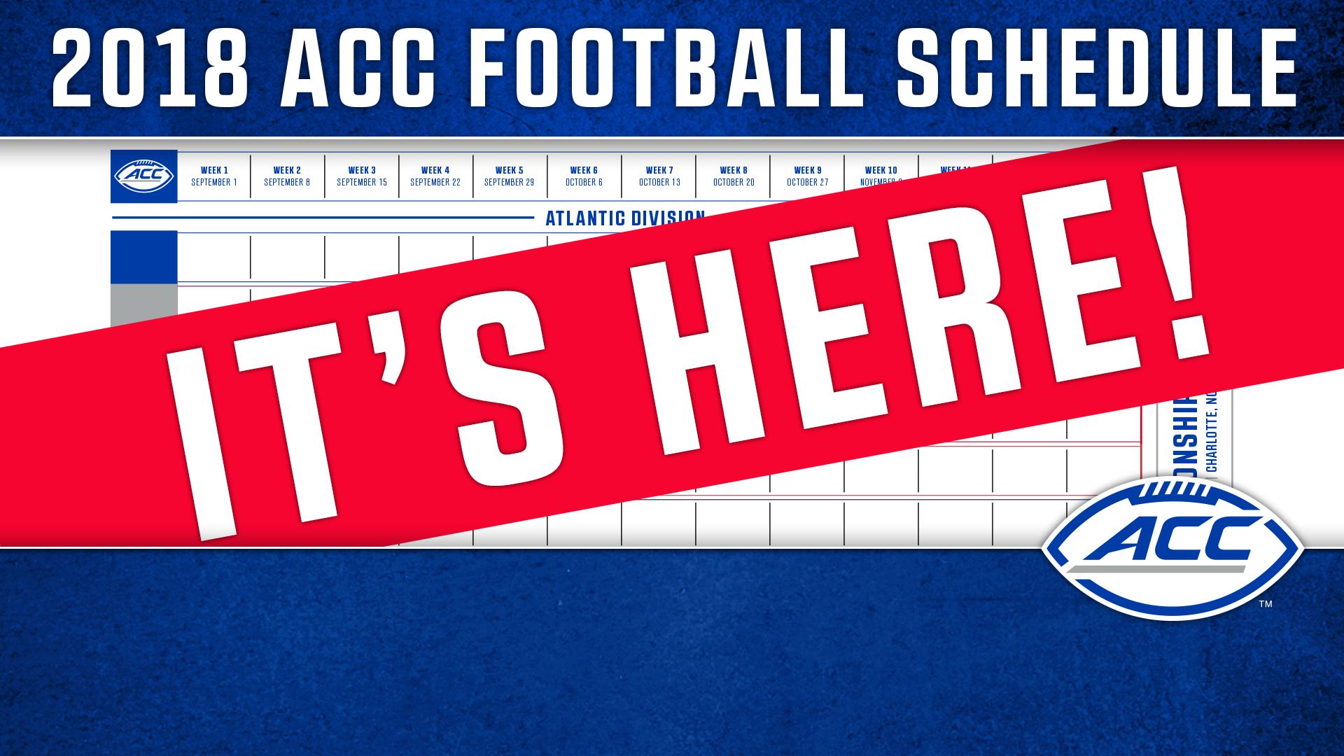picture regarding Printable One Page Nfl Schedule titled ACC Announces 2018 Soccer Timetable - Atlantic Coastline Convention