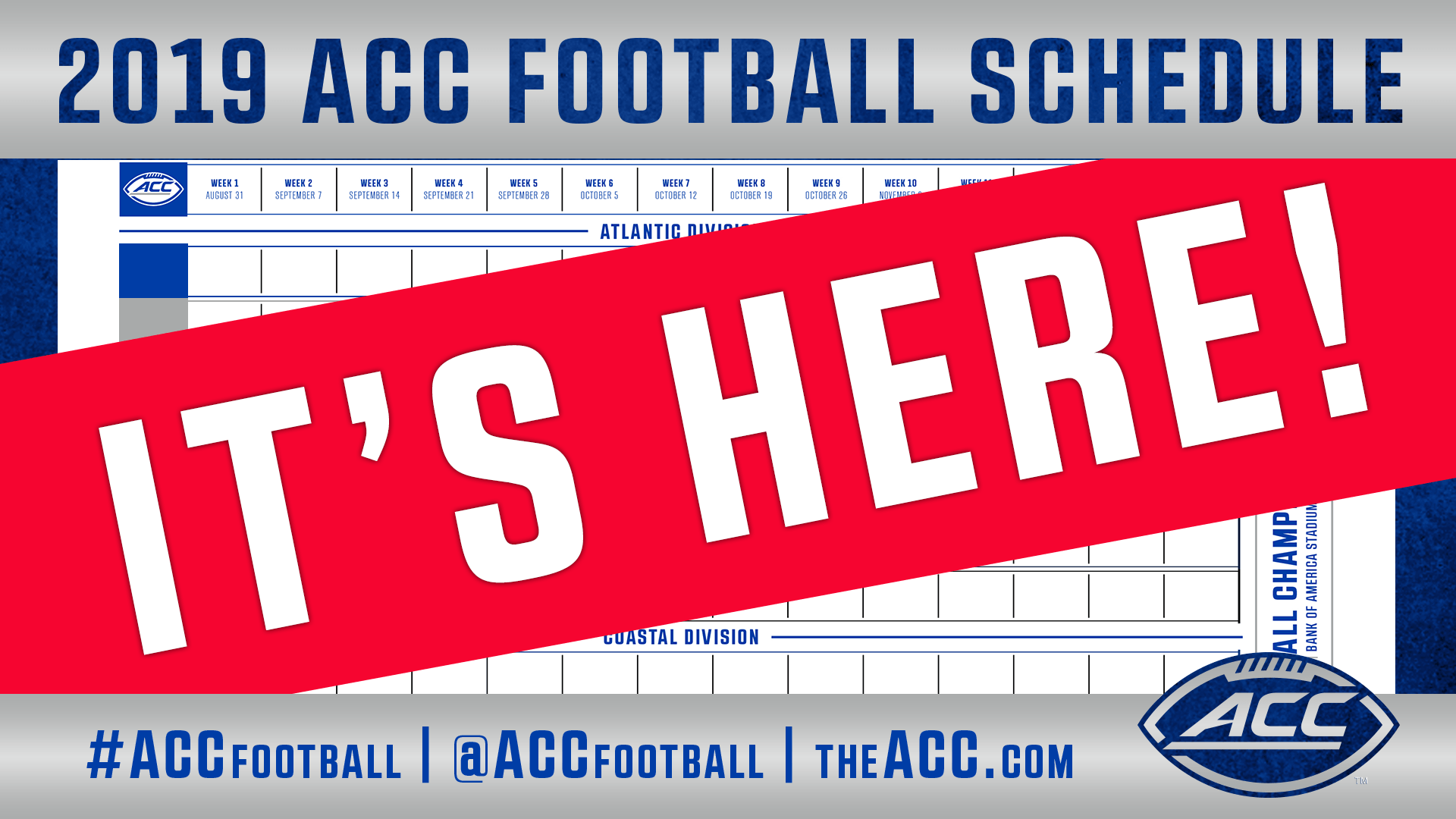 graphic about Printable College Football Schedules called ACC Announces 2019 Soccer Program - Atlantic Coastline Meeting