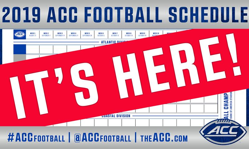 ACC Announces 2019 Football Schedule - Atlantic Coast Conference