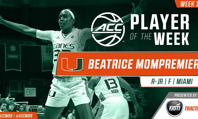 ACC Women's Basketball Player and Rookie of the Week Announced