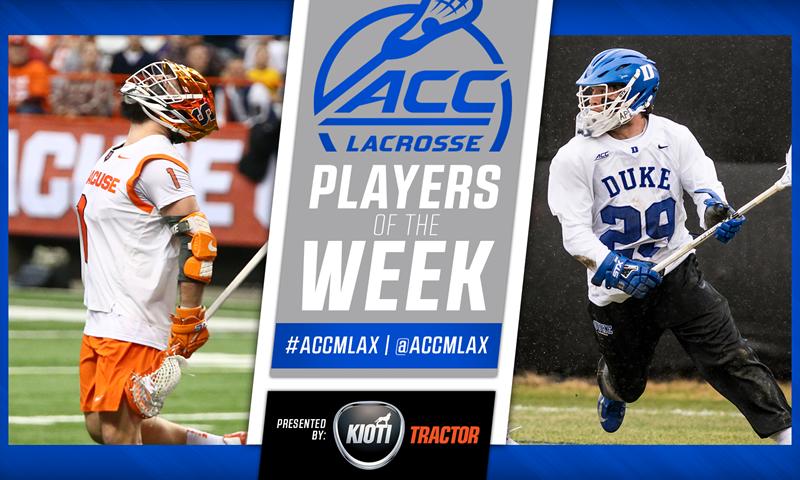 Syracuse's Voigt, Duke's Uppgren Earn Men's Lacrosse Player of the Week Honors