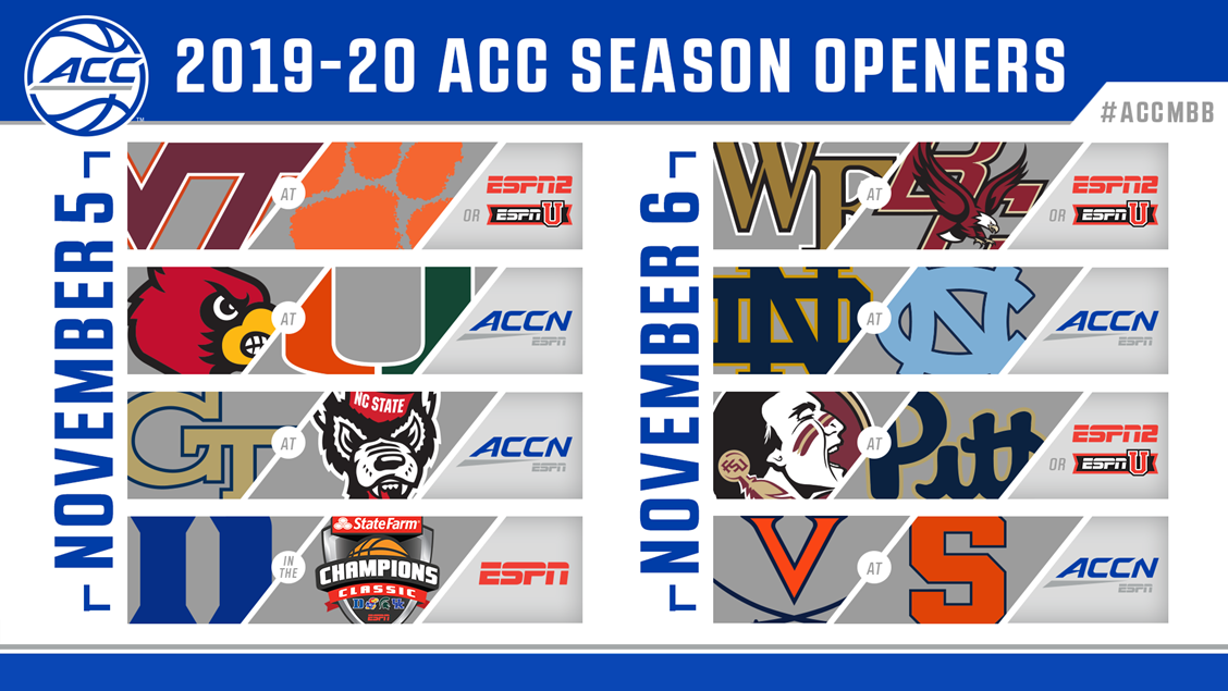 ACC Announces 2019-20 Season-Opening Basketball Games