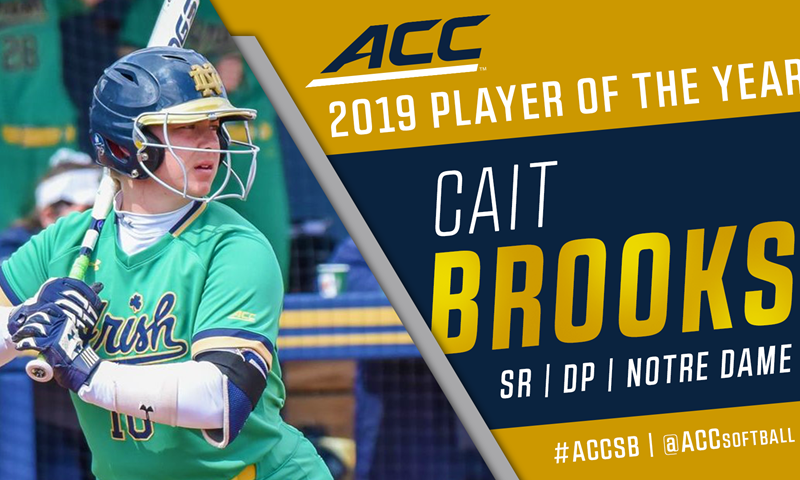 Notre Dame's Brooks Headlines All-ACC Softball Awards