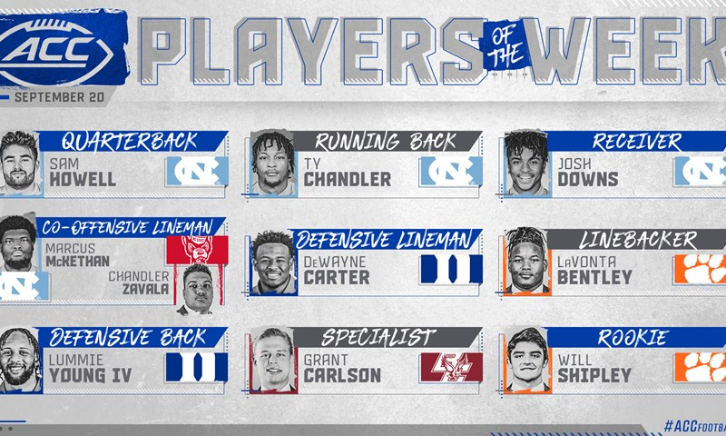 Four Tar Heels Among ACC Football Players Of The Week