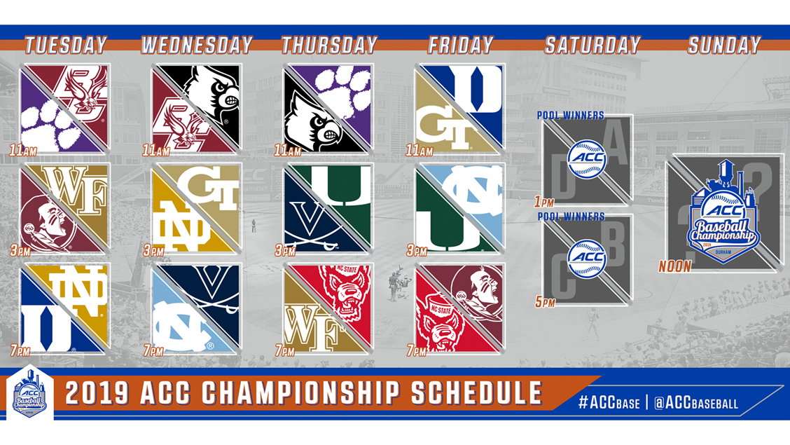 Baseball Playoffs 2019 Schedule 2019 ACC Baseball Championship Schedule Announced   Atlantic Coast